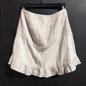 stevie may striped high waisted ruffle trim skirt